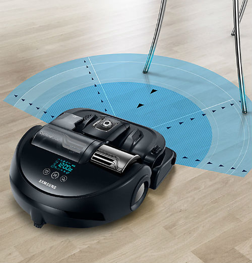 aspirateur robot samsung vr9000h créer un arc de cercle pour éviter les obstacles